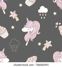 Cute unicorn and sweet cupcake seamless pattern on gray background, there are the little stars and pastel cloud.