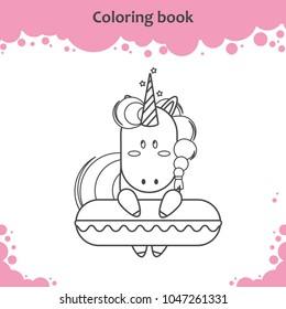 Cute unicorn with swimming circle. Coloring page for kids.