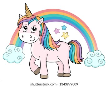 Cute unicorn topic image 2 - eps10 vector illustration.