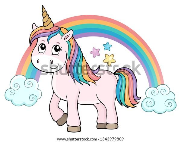 Cute unicorn topic image 2 - eps10 vector illustration.