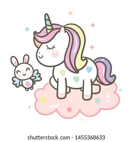 Cute Unicorn Vector with Angel Rabbit cartoon on could, Kawaii character, Fairytale pony for Nursery decoration: Illustration of Pastel Horse- Perfect for kid's greeting card design and Print.