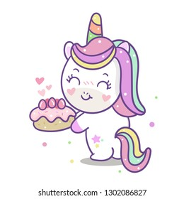 cute unicorn vector birthday cartoon with pastel cake: Series Yummy food, fairly tales Pony- card and Print for t-shirt. Romantic hand drawing or instructional media illustration for kid