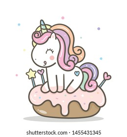 Cute Unicorn vector cake for birthdays. Sweet dessert, Kawaii pony cartoon, Nursery decoration for kid, hand drawn isolated on a white background: Illustration of fairytale horse in Flat style design