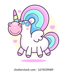 Cute unicorn .Vector cartoon character illustration.Design for child card,t-shirt.Girls,kid.magic concept.Isolated on white background.Cute unicorn horse