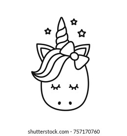 Cute Unicorn Vector Cartoon Character Illustration Design For Child T Shirtcoloring
