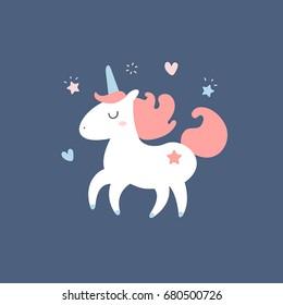 Cute unicorn. Vector cartoon illustration. Magic creature. Dark background isolated. Flat design, trendy style. Unicorn character