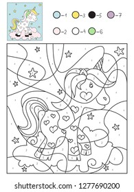 Cute unicorn vector coloring book by numbers for kids. Educational coloring game improve imagination.  To increase the level of concentration.