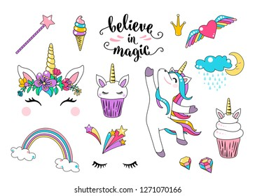 Cute unicorn vector with cupcake, dancing little horse, head with flowers, rainbow, diamond, ice cream and lettering quote believe in magic. Cool girl patches. Graphic design for print element.