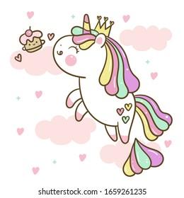 Cute Unicorn vector cupcake pony cartoon sweet dessert pastel color (Kawaii Cartoon). Kid food dessert bakery product fabulous fashion child décor cafe shop, Invitation post, t-shirt. illustrations.