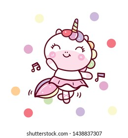 Cute Unicorn vector dancing pastel color, Kawaii pony cartoon happy party, Nursery decoration, hand drawn isolated on a white background: Illustration of fairytale horse- Perfect for kid's greeting.