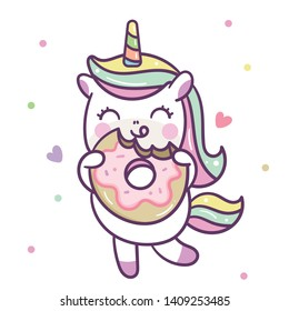 Cute Unicorn vector with Donut, Nursery decoration, Happy Summer holiday, baby animal, Kawaii pony cartoon (Pastel background): Illustration of fairytale - Perfect for kid's greeting card design.
