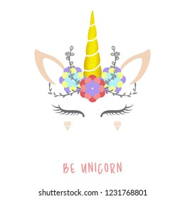 Cute unicorn vector illustration. Background image card, shirt design.