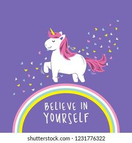 Cute unicorn vector illustration background card.