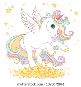 Cute Unicorn vector illustration for children design. Gold  hair. White wings. Cute fantasy animal on the rainbow