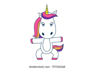Cute Unicorn . Vector Illustration. Isolated on white background.