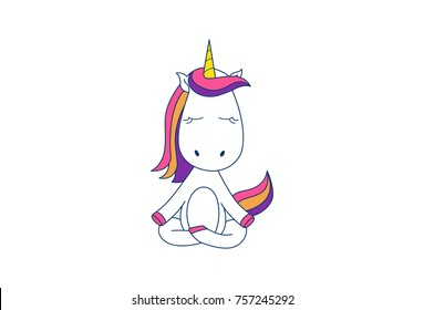 Cute Unicorn . Vector Illustration. Isolated on white background.