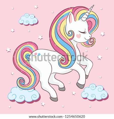 Cute unicorn vector illustration for kids fashion artworks, children books, prints, greeting cards, t shirts, wallpapers. - Vector