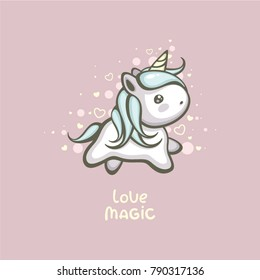 Cute unicorn vector illustration. Magic love logo. Dream symbol cartoon character. Template for Valentine's day greeting card and wedding invitation.