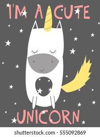 cute unicorn vector illustration.T-shirt graphics for kids vector illustration