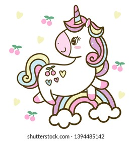 Cute Unicorn Vector jump on the sky with rainbow collection cartoon baby animal, Kawaii Character pony cartoon, Summer holiday white background- Perfect for kid's greeting card design and Pr