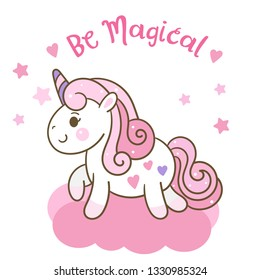 Cute Unicorn vector Kawaii pony cartoon with little heart on clouds (happy expressions): series Illustration of cute fairytale pony- Perfect for kid's greeting card design and Print for t-shirt