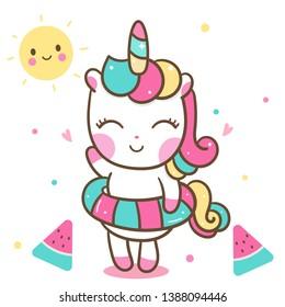 Cute Unicorn vector, Nursery decoration, Happy Summer holiday with Watermelon, baby animal, Kawaii pony cartoon (Pastel pattern): Illustration of fairytale - Perfect for kid's greeting card design.