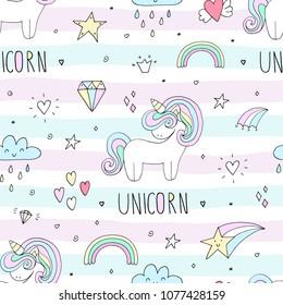 cute unicorn vector pattern