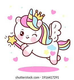 Cute Unicorn vector Pegasus holding magic wand with heart pony cartoon pastel background: Series fairy tale characters kawaii animals horse (flat Girly doodles). Perfect Nursery children, kids.