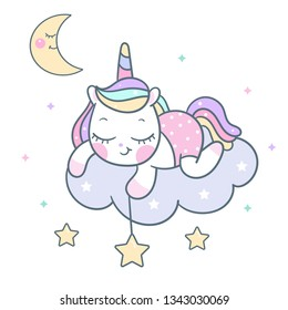 Cute Unicorn vector pony cartoon on cloud with star, magic sleeping time for sweet dream, Kawaii style with rainbow. Perfect for kid's greeting card design, t-shirt print, inspiration poster, kid room