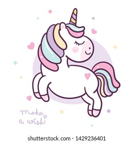 Cute Unicorn vector pony cartoon jump, Nursery decoration, Kawaii character, Fairytale horse. Perfect for kid's greeting card design, t-shirt print, inspiration poster. Romantic hand drawing
