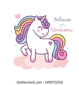 Cute Unicorn vector pony cartoon (kawaii animal): Fabulous fashion, fairytale horse party invite- sticker graphic Magic for invitation post, t-shirt, nursery decoration. hand drawn on white background