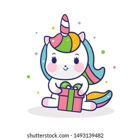 Cute Unicorn vector pony cartoon hug gifts (kawaii animal): Fabulous fashion, fairytale horse party Birthday, new year, christmas- sticker graphic Magic for invitation post, t-shirt, nursery decor.