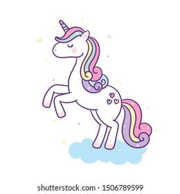 Cute Unicorn vector pony child cartoon on cloud(kawaii animal)sweet pastel color: Fabulous fashion, fairytale horse party- sticker graphic Magic for invitation post, t-shirt, nursery decor. hand drawn