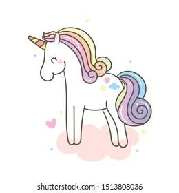 Cute Unicorn vector pony child on cloud (kawaii animal): Fabulous fashion, fairytale horse cartoon party Birthday, Nursery decoration- sticker Magic for invitation post, t-shirt, children books. hand