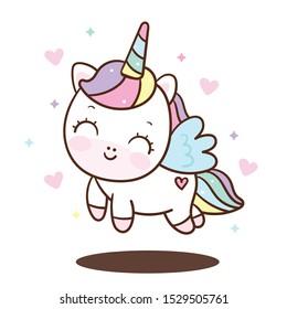 Cute Unicorn vector pony child princess angel animal, sweet pastel color (Illustration): Doodle Nursery decoration, hand drawn. Perfect for kid greeting card, Print t shirt, fashion artworks.