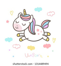 Cute unicorn vector Pony jump cartoon with Pastel color little heart(illustrator): Series Happy set, fairly tales character- card and Print for t-shirt. Romantic hand drawing or decoration kid's room.