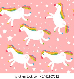 Cute unicorn vector seamless pattern on a pink background for wallpaper, wrapping, packing, and backdrop.
