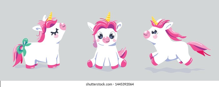 Cute unicorn vector set background. Baby fairy animal pony illustration in cartoon style for girl kid print. Character isolated design.