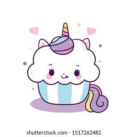 Cute Unicorn vector sweet cake, Happy birthday party, Kawaii animal pony cartoon, Doodle style Nursery decoration, hand drawn on white background