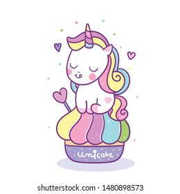 Cute Unicorn vector with sweet cupcake cartoon. Muffin isolated on white background. Yummy dessert, Birthday party, Kawaii animal pony, Doodle Nursery decoration, hand drawn fairytale horse- kid shirt