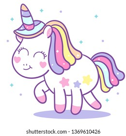Cute Unicorn vector walking, Kawaii pony cartoon, hand drawn isolated on a white background (Pastel pattern): Illustration of cute fairytale pony- Perfect for kid's greeting card design and Print.