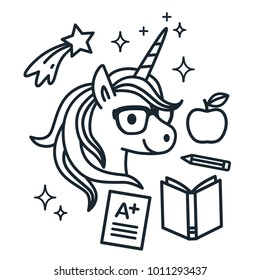 Cute Unicorn Wearing Eyeglasses With School Themed Icons Around Single Color Outline Vector Illustration