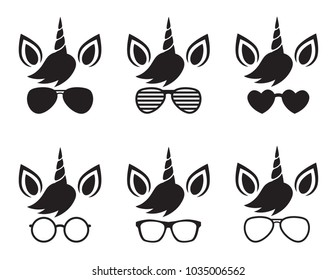 Cute unicorn wearing glasses and sunglasses face silhouette vector illustration.