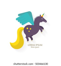 Cute unicorn with wings - flat style vector illustration.
