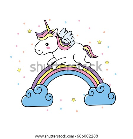 Cute Unicorn With Wings And Rainbow Clouds