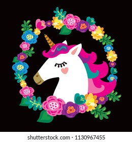A cute unicorn in a wreath of flowers. Portrait of a unicorn in a floral frame.