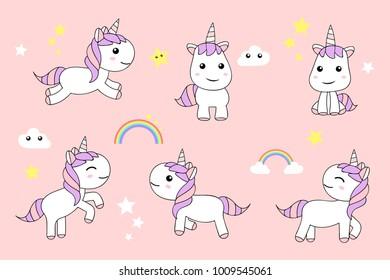 Cute Unicorns cartoon happy fun , baby unicorn , vector illustration