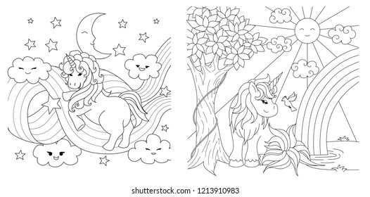 Cute unicorns collection for coloring book page for anti stress.Vector illustration