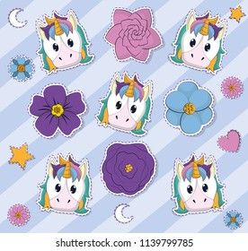 Cute unicorns and flowers background