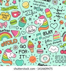Cute unicorns ,foods and inspiration quotes seamless pattern background.\n